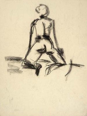 #75, fusain sur papier, 45 x 61 cm. - Charcoal on paper, 18 x 24
