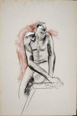 2010, #24, fusain et sanguine sur papier, 61 x 91 cm. - Charcoal and red chalk on paper, 24 x 36