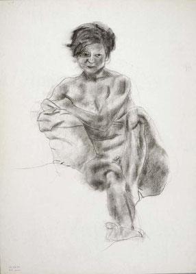 1985, #62, fusain sur papier, 45 x 61 cm. - Charcoal on paper, 18 x 24