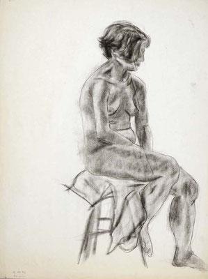 1985, #63, fusain sur papier, 45 x 61 cm. - Charcoal on paper, 18 x 24