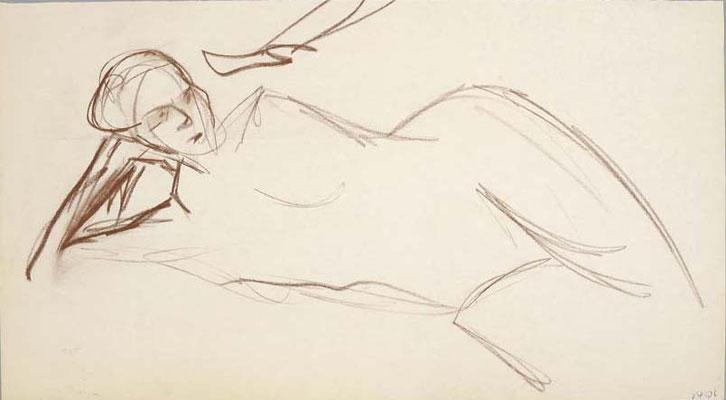 2006, #118, sanguine sur papier, 45 x 25 cm. - Red chalk on paper, 18 x 10