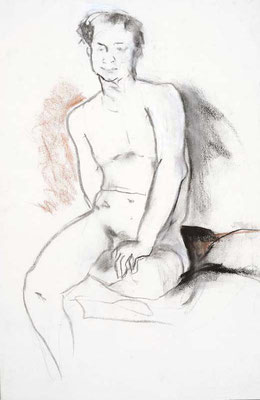 1990, #117, fusain sur papier,  30 x 45 cm- Charcoal on paper, 12 x 18