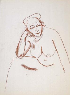 2006, #100, sanguine sur papier,  45 x 61 cm- Red chalk on paper, 18 x 24