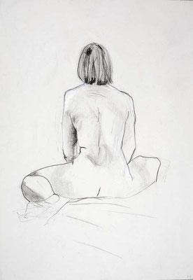 1999, #69, fusain sur papier, 45 x 61 cm. - Charcoal on paper, 18 x 24