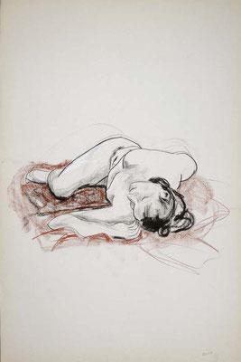 1999, #54, fusain et sanguine sur papier, 61 x 91 cm. - Charcoal and red chalk on paper, 24 x 36