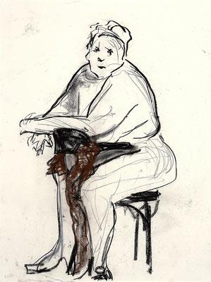 2012, #3, fusain, sanguine sur papier,  45 x 61 cm- Charcoal, red chalk on paper, 18 x 24