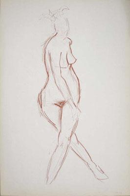 1999, #41, sanguine sur papier, 61 x 91 cm. - Red chalk on paper, 24 x 36