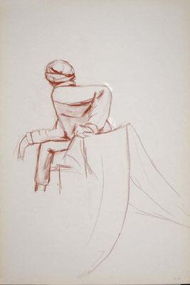 2010, #23, sanguine sur papier, 61 x 91 cm. - Red chalk on paper, 24 x 36