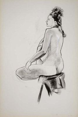 1999, #37, fusain sur papier, 61 x 91 cm. - Charcoal on paper, 24 x 36