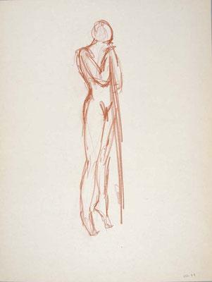 1999, #94, sanguine sur papier,  45 x 61 cm - Red chalk on paper, 18 x 24