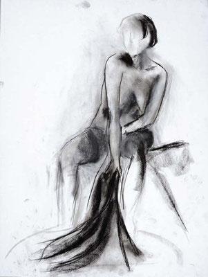 #82, fusain sur papier, 45 x 61 cm. - Charcoal on paper, 18 x 24