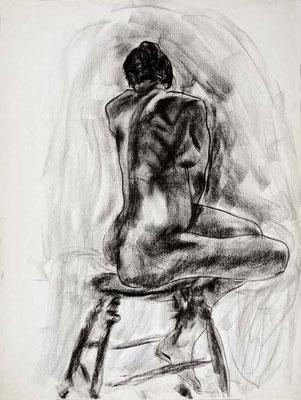 1985, #66, fusain sur papier, 45 x 61 cm. - Charcoal on paper, 18 x 24