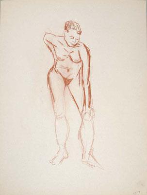 1999, #95, sanguine sur papier,  45 x 61 cm - Red chalk on paper, 18 x 24