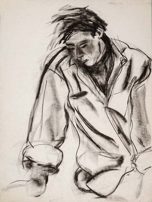 1985, #89, fusain sur papier,  45 x 61 cm.  - Charcoal on paper, 18 x 24