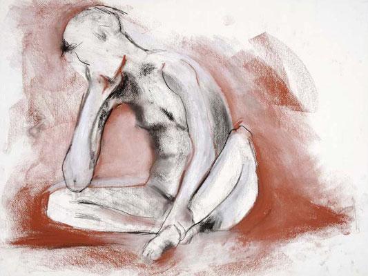 #86, fusain et sanguine sur papier, 61 x 45 cm. - Charcoal and red chalk on paper, 24 x 18