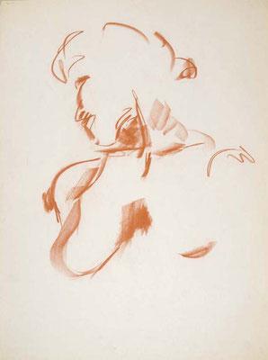 #109, sanguine sur papier,  45 x 61 cm- Red chalk on paper, 18 x 24