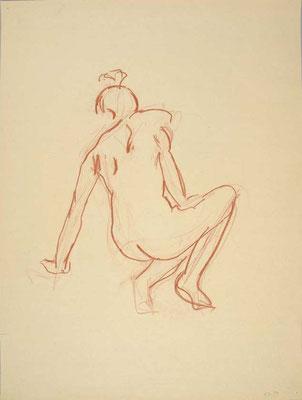 1999, #70, sanguine sur papier, 61 x 91 cm. - Red chalk on paper, 24 x 36