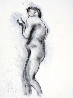 1991, #77, fusain sur papier, 45 x 61 cm. - Charcoal on paper, 18 x 24