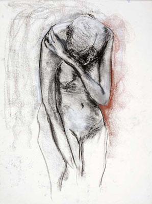 1985 #81,  fusain et sanguine sur papier, 45 x 61 cm. - Charcoal and red chalk on paper, 18 x 24