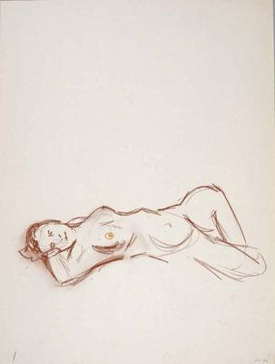 2006, #97, sanguine sur papier,  45 x 61 cm- Red chalk on paper, 18 x 24