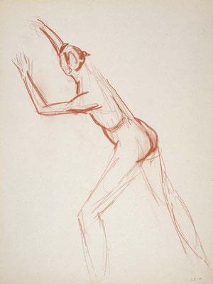 1999, #92, sanguine sur papier,  45 x 61 cm - Red chalk on paper, 18 x 24
