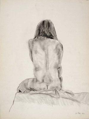 1984, #67, fusain sur papier, 45 x 61 cm. - Charcoal on paper, 18 x 24
