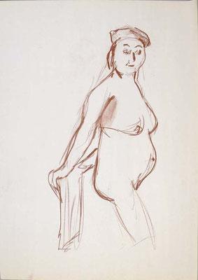 2006, #101, sanguine sur papier,  45 x 61 cm- Red chalk on paper, 18 x 24