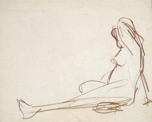 2006, #118, sanguine sur papier, 45 x 38 cm. - Red chalk on paper, 18 x 15