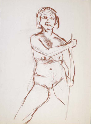 2006, #99, sanguine sur papier,  45 x 61 cm- Red chalk on paper, 18 x 24