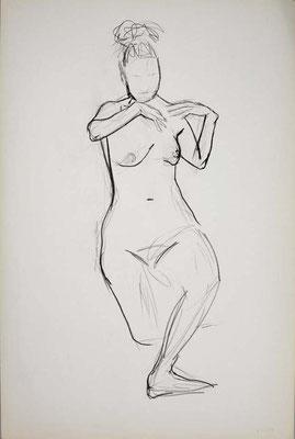 1999, #42, fusain sur papier, 61 x 91 cm. - Charcoal on paper, 24 x 36