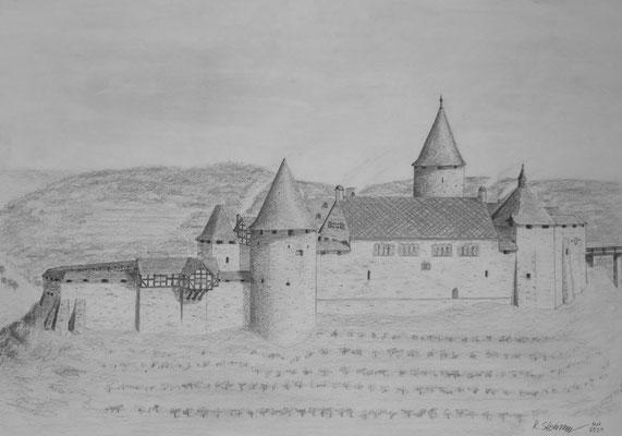 Burg Blankenberg damals. Eigene Zeichnung © Roland Steinwarz