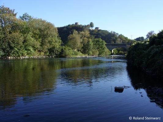 Die Sieg mit Eisenbahnbrücke und Burg Blankenberg
