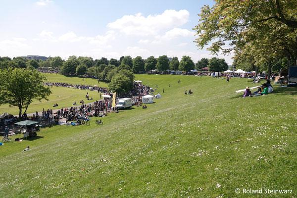 Künstliche Landschaft: Rheinauenpark in Bonn mit Flohmarkt