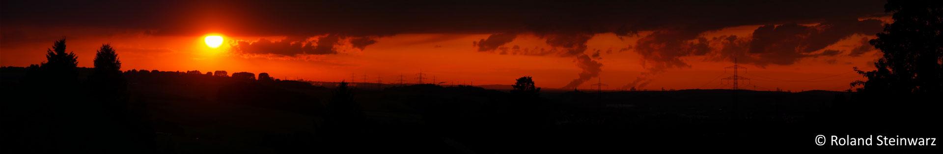Sonnenuntergang bei Hennef-Lichtenberg, 5 Einzelfotos