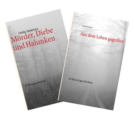 Zwei Schwarz-Weiß-Fotos dienen als Cover für die Kurzgeschichtensammlungen von Ottilie Steinwarz (meiner Mutter)