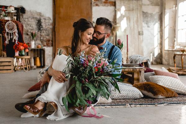Boho-Hochzeit Schloss Diersfordt Wesel Paarshooting