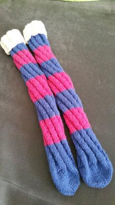 Spiralsocken in pink-blau mit weißem Umschlag in Gr. 39/40