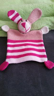 """Schmusetuch """"Hasi"""" in pink-rosa  (nach einer Anleitung von Schneckenkind Raphaelo)"""