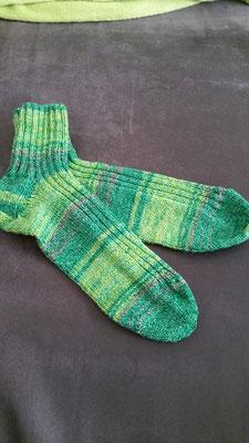 Socken aus Baumwollstretch mit kurzem Bündchen in Grüntönen Gr. 40