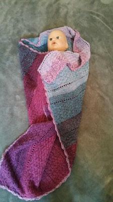 Baumwollmischgarn mit Muschelmustermix in rosa/Lilatönen und türkis, sanfter Farbverlauf
