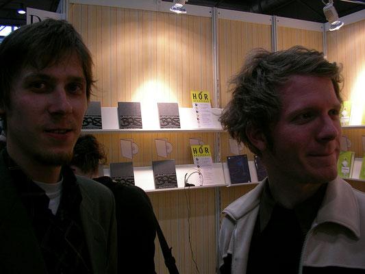 Buchmesse Leipzig: Sebastian Wolter (Voland & Quist) und Daniel Beskos