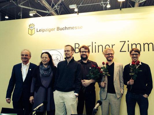 Verleihung der Kurt-Wolff-Preise, Leipziger Buchmesse 2014, mit Stefan Weidle (KWS), Dietmar Dath (Laudator), Jörg Sundermeier (Verbrecher Verlag)