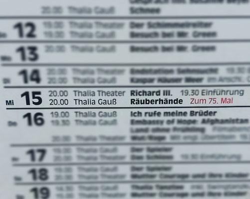 """Thalia-Theater feiert """"Räuberhände""""-Jubiläum, Februar 2017"""