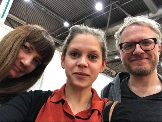 Judith Liere (Stern), Marie-Claire Lukas (Dumont Verlag), Daniel Beskos, Buchmesse Leipzig 2017