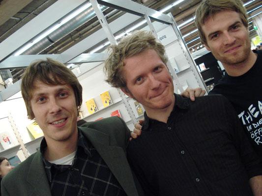 Buchmesse Leipzig: Sebastian Wolter (Voland & Quist), Daniel Beskos, Christoph Eickhorst