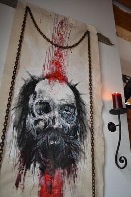 """""""Chains"""" -  2013, Eisenkette, Nadelholz, Tusche. Blut und Acryl auf unbehandeltem Leinen, 100 x 150 cm, Preis auf Anfrage"""