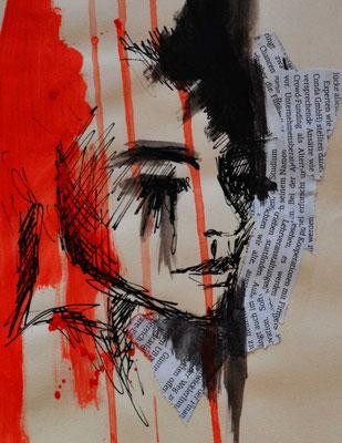 """""""Face 1"""" -  2013, Acryl und Tusche auf Papier, 25 x 30 cm, Kaufpreis 80,-"""