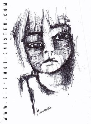 """Sad"" -  2015, Tusche auf Papier, 20 x 30 cm, Kaufpreis 50,-"