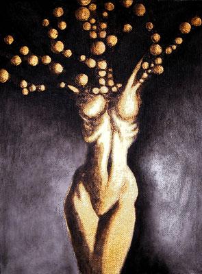 """""""Element 13"""" -  2014, Acryl und Gold auf Leinen, 18 x 24 cm, Kaufpreis 200,-"""