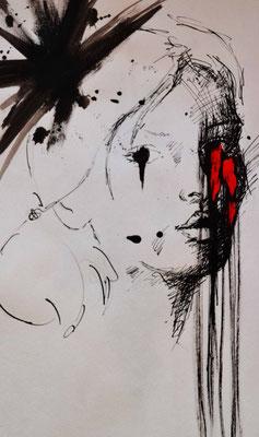 """""""Face 2"""" -  2013, Acryl und Tusche auf Papier, 25 x 30 cm, Kaufpreis 80,-"""